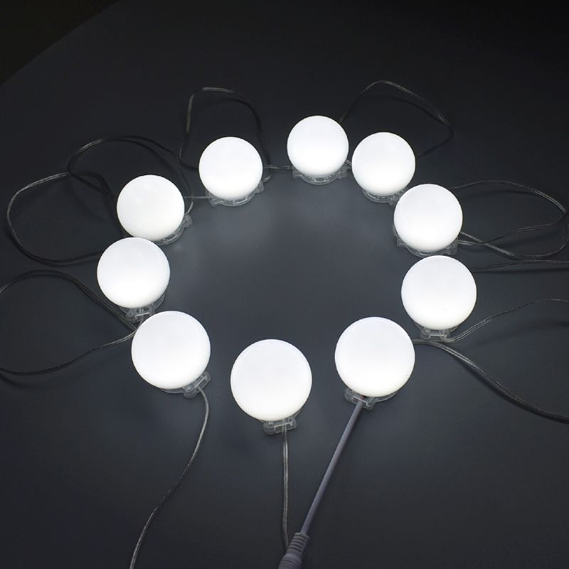 Makeup Vanity Mirror LED Lamps Belt 10Pcs Bulbs Adjustable Fill Light USB Port Dress Table Dimmer Female Bedroom Accessory