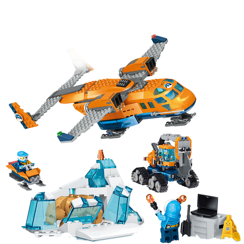 743PCS Small Building Blocks Compatible with Legoingnlys City Arctic Supply Plane Toys for Children Girls Boys Gift DIY