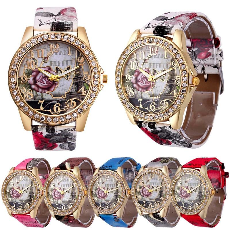 1PCs New Women Vintage Luxury Leather Quartz Watches Rhinestone Romantic French Rose Neutral Lady Girls Wristwatches Gifts