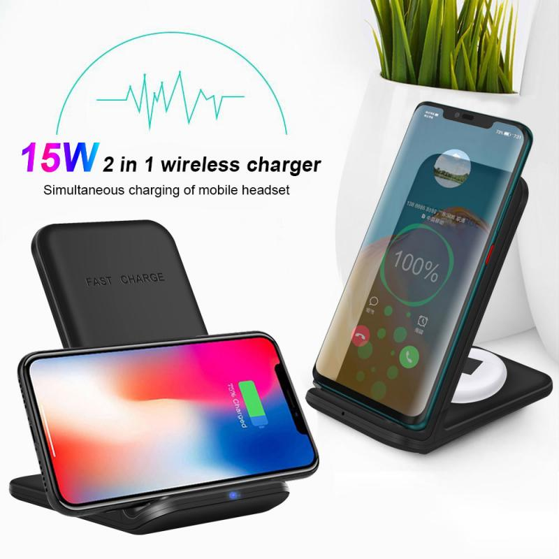 15W Qi Wireless Chargers 2 In 1 Fold-Stand Station Fast-Charging-Holder Dock Pad For IPhone Samsung Xiaomi ABS Type-C Input Part