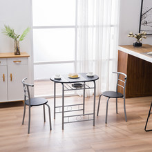 PVC 3 Pieces Dining Table Set 1 Wooden Dining Table with 2 Dinig Chairs Metal Modern Kitchen Breakfast Furniture(China)