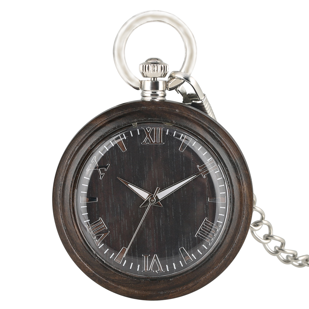 Portable Dark Brown Ebony Quartz Pocket Watch Practical Large Round Dial With Roman Numerals Silver Pendant Chain Unisex