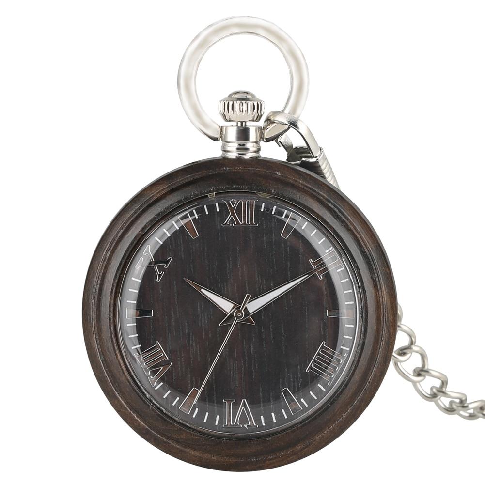 Portable Dark Brown Ebony Quartz Pocket Watch Practical Large Round Dial With Roman Numerals Silver Pendant Chain Unisex