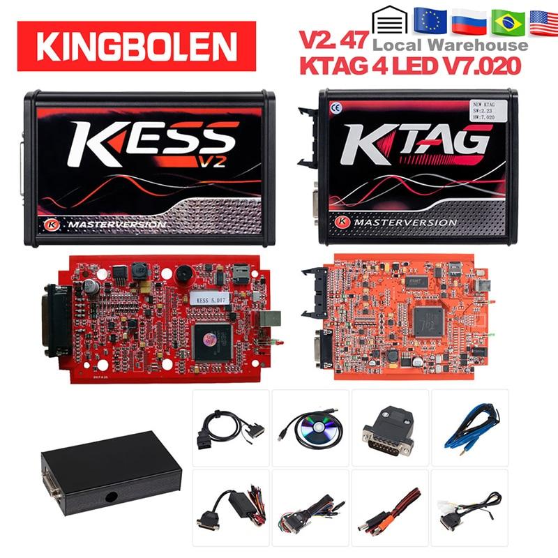 KESS V2 V2.47 V5.017 EU Red ECM Titanium KTAG V2.25 V7.020 4 LED Online Master Version BDM Frame ECU OBD2 Car/truck Programmer