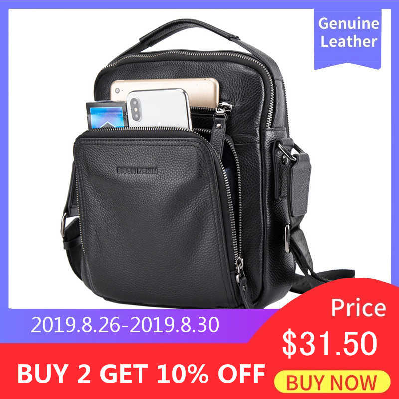 BISON DENIM Genuine Leather Men Bags Ipad Handbags Male Messenger Bag Man Crossbody Shoulder Bag Men's Travel Bags N2333-1BS