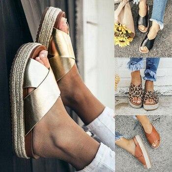 2019 Sandalias Mujer zapatos de verano Peep Toe Casual Sandalias planas señoras transpirable aire malla mujeres Sandalias de plataforma Sandalias O66
