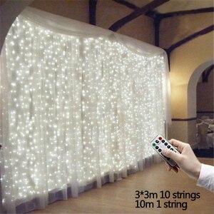 3 м x 3 м 300 светодиодный занавес светильник s романтическое рождественское свадебное украшение наружный сосулька струнный светильник Дистан...