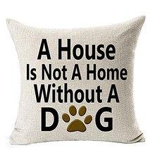 Dog Lover Gifts Cotton Linen Throw Pillow  Cushion  For Sofa Seat Cushion  Home Decor 45×45 cm
