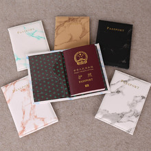 Accesorios de viaje Vintage mármol pasaporte titular ID cubierta mujeres hombres Portable Banco Tarjeta Pasaporte negocios PU cuero cartera caso