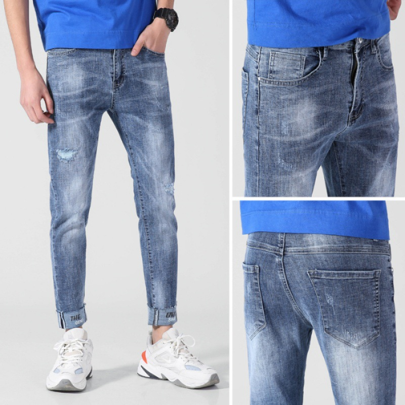 19 Spring Summer MEN'S Jeans Korean-style Fashion Light Straight-leg Slim Fit Elasticity With Holes Denim (Ankle-length Pants)