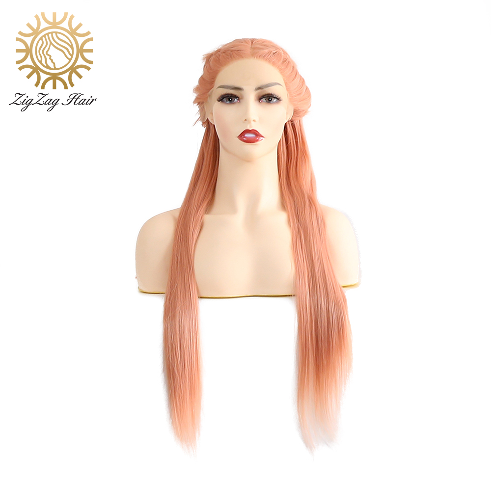ZigZag Rose Gold Synthetic Lace Front Wig for Women Straight Hand Tied Braid Heat Resistant Hair Pink Wig Long Lace Frontal Wigs