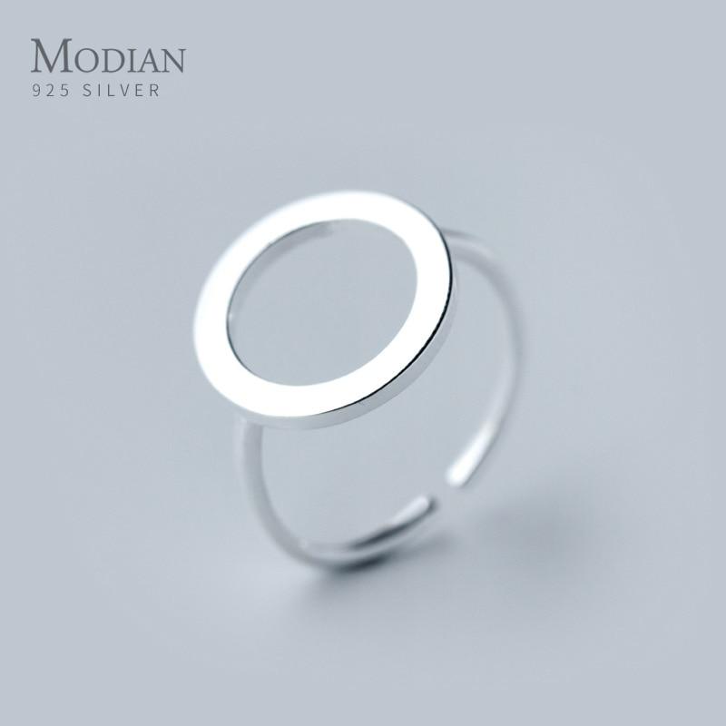 Modian классическое кольцо из стерлингового серебра 925 пробы в круглой форме для женщин модное открытое регулируемое кольцо на палец изящное ювелирное изделие подарок для девочки|Кольца|   | АлиЭкспресс