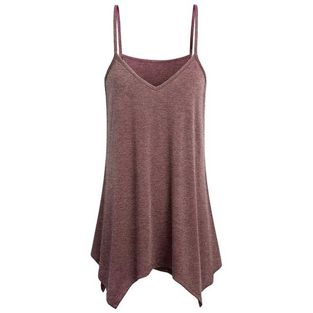 Plus Size S - 5XL Women Irregular Summer Loose V Neck Cami Tank Tops Vest Blouse Fashion Women Sleeveless Tops Shirt Camisole N4