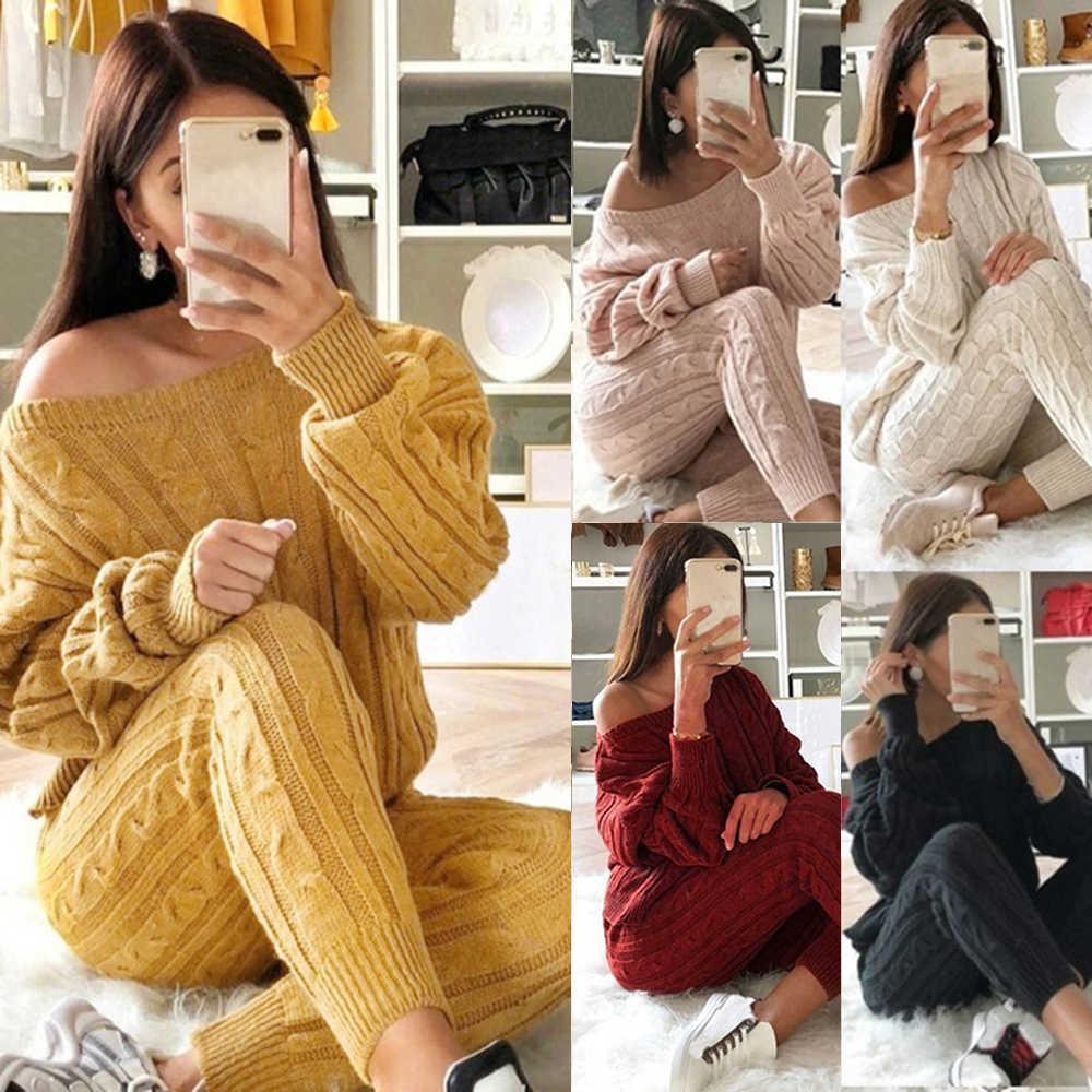 ผู้หญิง 2 ชิ้นชุดคริสต์มาสชุดนอนฤดูใบไม้ร่วงฤดูหนาวถักชุดผู้หญิง O คอ Pullover ของแข็งสีเสื้อ + กางเกงชุดชุด