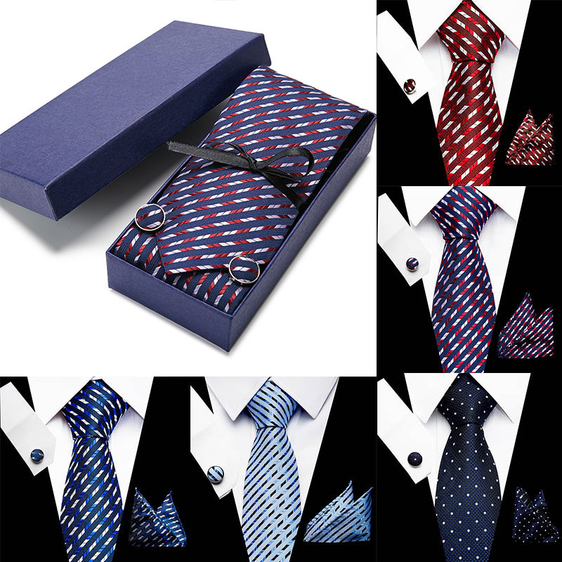 Wedding Men Neck Ties Gift Box Packing Men Brand Luxury Necktie Pocket Square Silk Tie Set Cufflinks Handkerchief Accessories