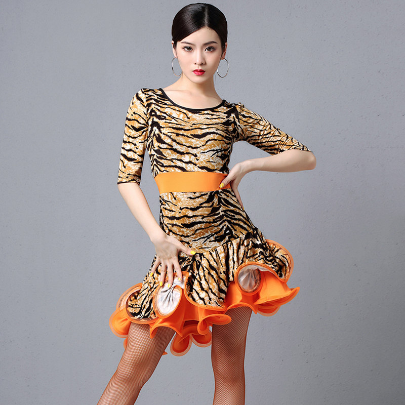 Professional Latin Dance Dress Woman Sexy Leopard Fish Bone Skirt Ballroom Dress Latine American Clothes Practice Dresses DL4405