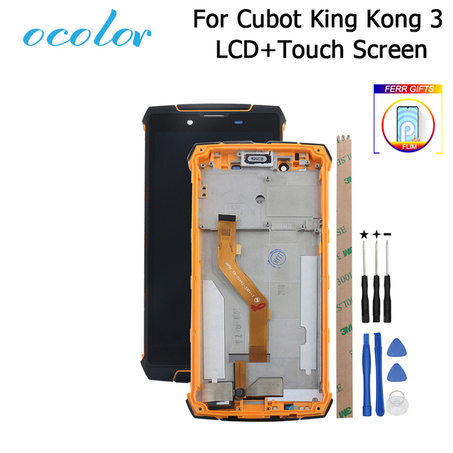 Ocolor עבור Cubot מלך קונג 3 LCD תצוגת מסך מגע עם מסגרת + סרט עצרת החלפה + כלים עבור cubot מלך קונג 3