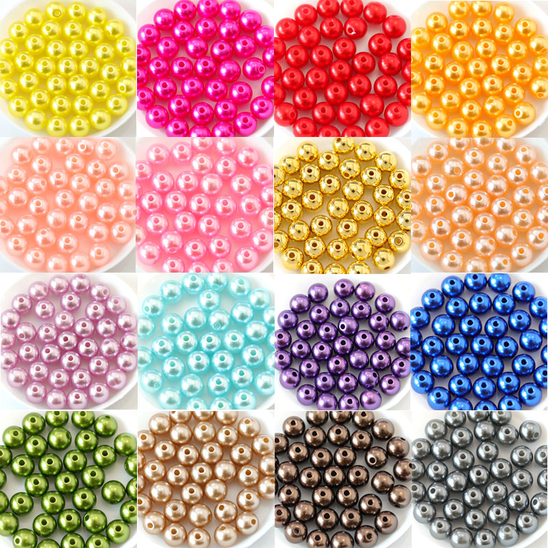 Many Colors ABS Imitation Pearls Round Beads With Holes DIY Bracelet Earrings Charms Sewing Beads Necklace Jewelry Making B3625(China)
