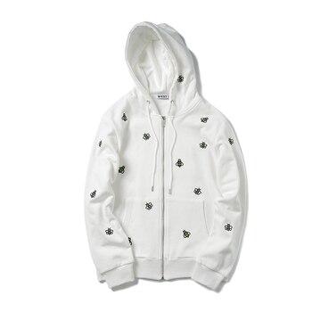 High Quality  Bee embroidery Mens Hoodies Black white Sweatshirts Unisex Fashion Streetwear zipper Hoodie for Men Clothing s-xxl