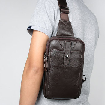 Cowhide Genuine Leather Messenger Bag for Men Phone Waist Bag Travel Crossbody Pack Wallet Satchel Sling Chest Bags new men genuine leather first layer cowhide high capacity travel cross body shoulder messenger sling chest day pack bag
