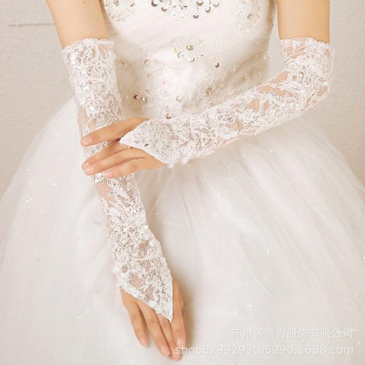 Bridal Wedding Lace Gloves Wedding Hook Finger Gloves White Lace Long Slim Wedding Gloves