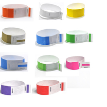 """Solid NEW Color 1"""" Tyvek Wristbands Stub Detachable for ID Paper Wristbands for Party Events Only 100 Pieces"""