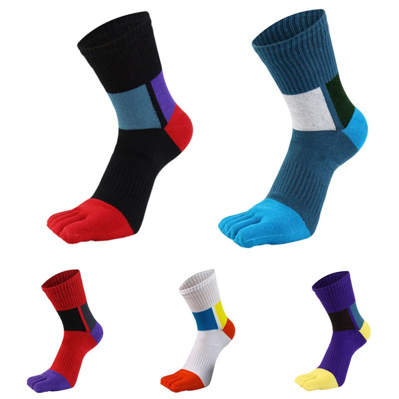 Fashion Men Cotton  Toe Socks Casual Colorful Shining Socks Male Crew Five Finger Absorb Sweat Breathable Socks