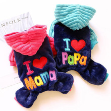Pet Dog Winter Clothes Dogs Jumpsuit I LOVE MaMa Chihuahua Autumn Thicken Teddy Puppy Coat Cat Apparel For Small Medium Pet hipidog sheep pattern coral velvet parkas pet dog pants autumn winter thicken warm jumpsuit for chihuahua small dogs cat clothes