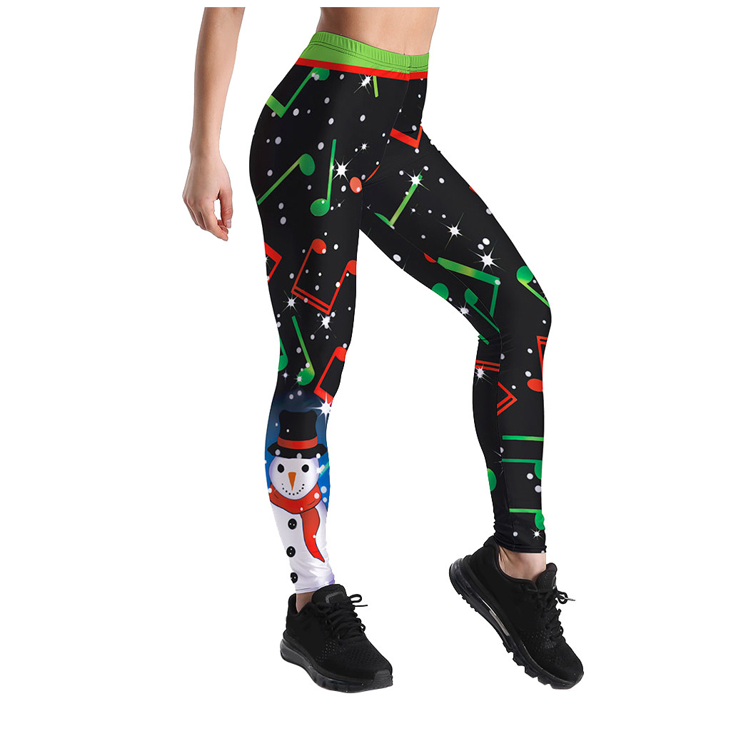 Fashion Sexy Women Musical Note Printing Pants High Waist Stretch Christmas Legging Fitness Female Leggings Breathable Pants