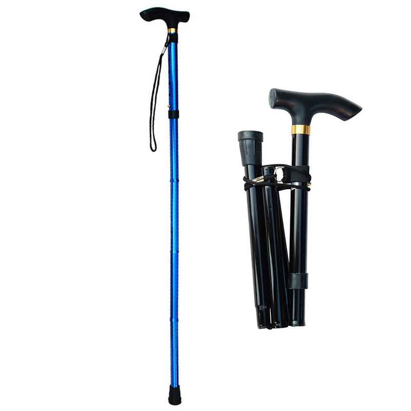 Collapsible Walking Stick For The Elderly Telescopic Old Men Walking Cane Folding Trekking Hiking Poles Mothers Fathers Crutches
