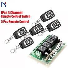Interruptor de Control remoto inalámbrico RF, 433mhz, CC, 12V, 4 canales, relé de interruptor de Control remoto inalámbrico, transmisor de módulo receptor