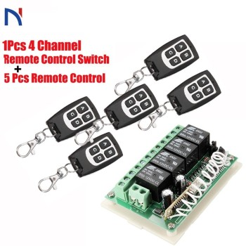цена на Wireless Remote Control RF Switch 433mhz DC 12V 4CH 4 Channel Wireless Remote Control Switch Relay Receiver Module Transmitter