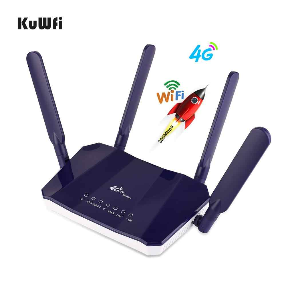 KuWFi 4G LTE CPE WiFi נתב 300Mbp אלחוטי CPE נייד WiFi נתב עם חריץ כרטיס ה-SIM עם כיסוי טוב עבור מחשב/טלפון/טלוויזיה תיבה