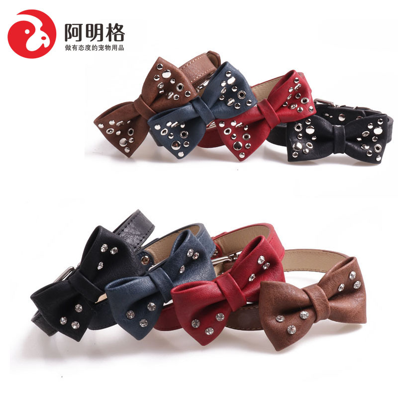 Amin Lattice Pet Supplies 2019 New Products Rivet With Diamond Bow Neck Ring Dog Neck Ring Pu-Hand Holding Rope