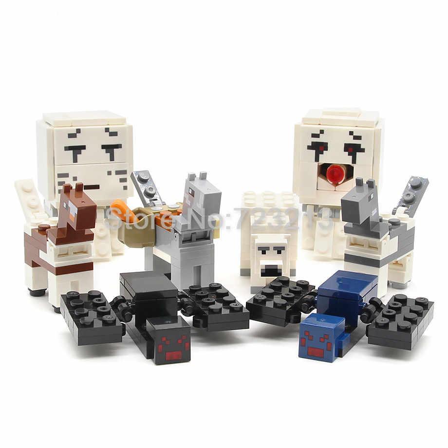 Única venda figura dos desenhos animados aranha pessoas aldeão urso cavalo blocos de construção conjunto modelo tijolos brinquedos para crianças