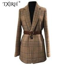 TXJRH, корейский Клетчатый блейзер в клетку с поясом, винтажный Женский приталенный офисный костюм средней длины с длинным рукавом, верхняя одежда