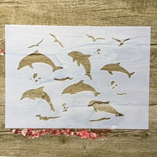 A4 29 * 21cm Animal dolphin DIY Stencils Wall Painting Scrapbook Coloring Embossing Album Decorative Paper Card Template