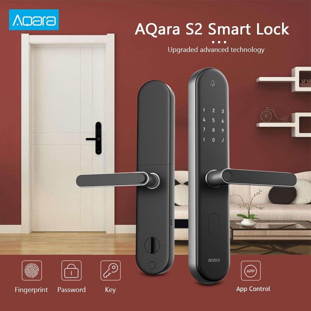 Aqara S2 Smart Door Lock Fingerprint High Recognition Password Key APP Control Smart Linkage Home Security Door Lock Castle