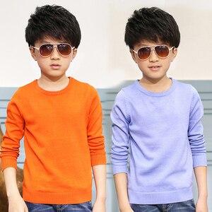 Image 1 - 2020 primavera crianças roupas meninos suéteres sólido causal manga longa v pescoço menino fino malha camisolas para meninos grandes crianças topos