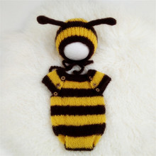 Newborn baby photography props,mohair romper with matching hat full set,Bee costume for newborn photography props set of fashion color matching knitting props clothes hat for baby s photography