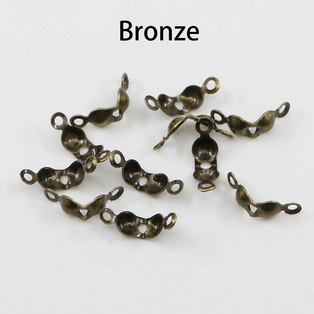 200 Conector Fecho de Encaixe 4*7 pçs/lote mm Calotte Fim Crimps Beads Bola Cadeia Connector Componentes Para Jóias DIY fazendo Supplie