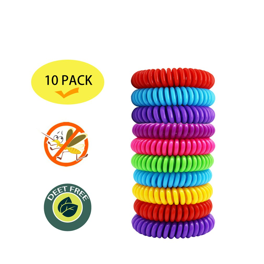10 Pcs / Set Mosquito Repellent Bracelets & Buttons Plant Extracts Children'S Girl Women Summer Phone Coil Bracelet