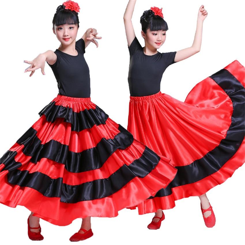 Girls Flamenco Skirt Flamenco Spanish Dress Chorus Stage Performance Dance Gypsy Skirt Woman Red Bullfighting Flamengo Dresses