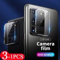 Protector de pantalla de cristal para Samsung Galaxy, película protectora de lente de cámara 9H para Samsung Galaxy S20 S21 FE Ultra S10 lite S10E S9 S8 plus, 3-1 Uds.