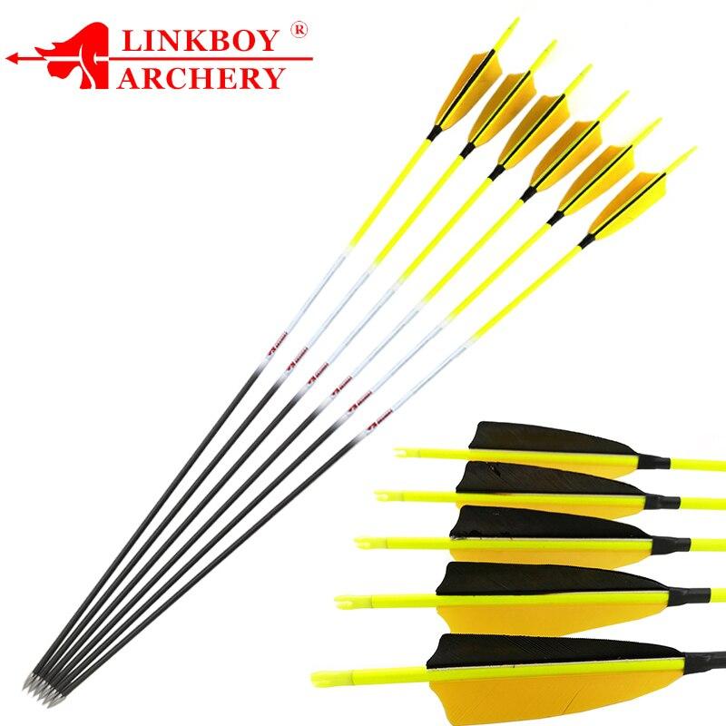 12 pçs linkboy tiro com arco setas de carbono 30 spine spine espinha 600 700 800 id4.2mm 4 polegada turquia pena 80gr pontos recurvo arco caça