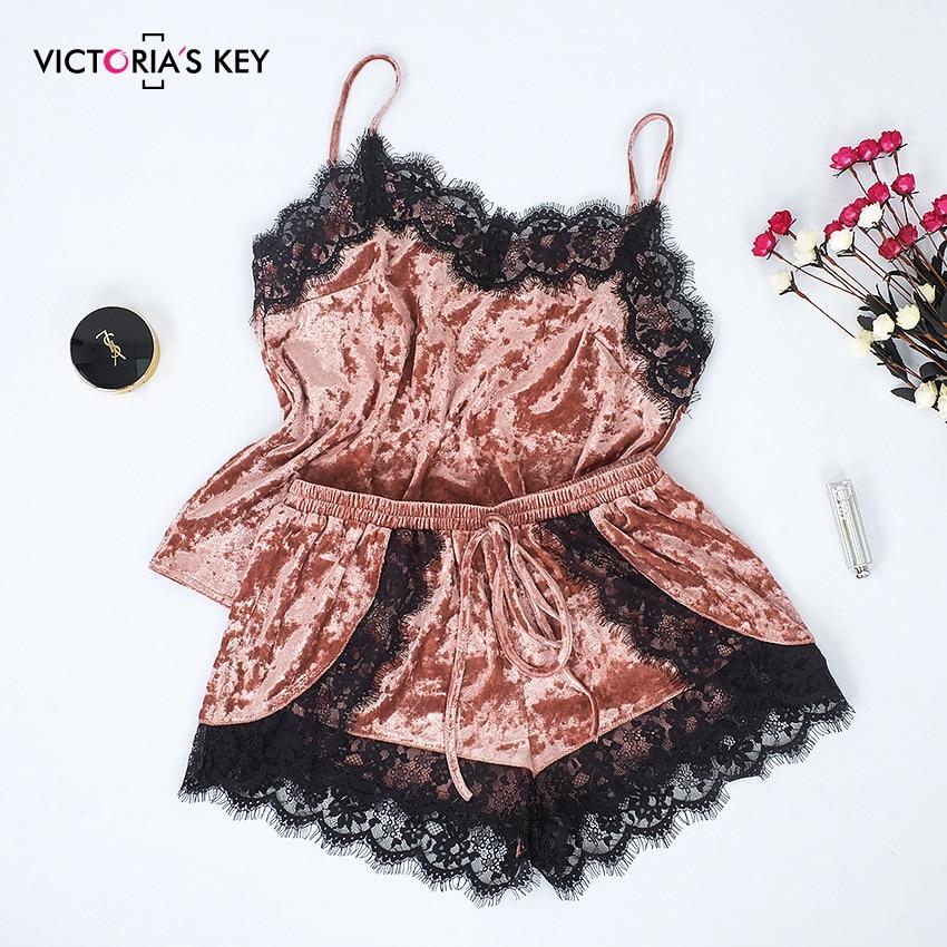 VICTORIA'S KEY 2019 Pink Velvet Sleepwear Cami Shorts Women Sexy Lace Summer Spaghetti Strap Sleeveless Pajamas Set Female