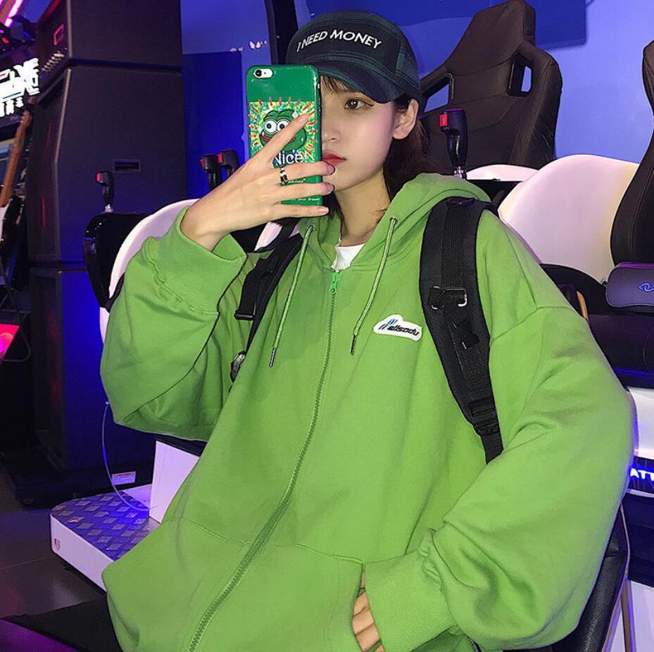 Harajuku Zip Up Sweatshirts Women Hoodies Korean Oversized Thin Clothes Plus Size Loose Casual Solid Color Shirt Long Sleeve Top 8