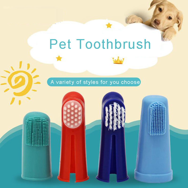2019 Super Soft Pet Finger Toothbrush Teddy Dog Brush Bad Breath Tartar Teeth Tool Dogs Cat Puppy Cleaning Supplies image