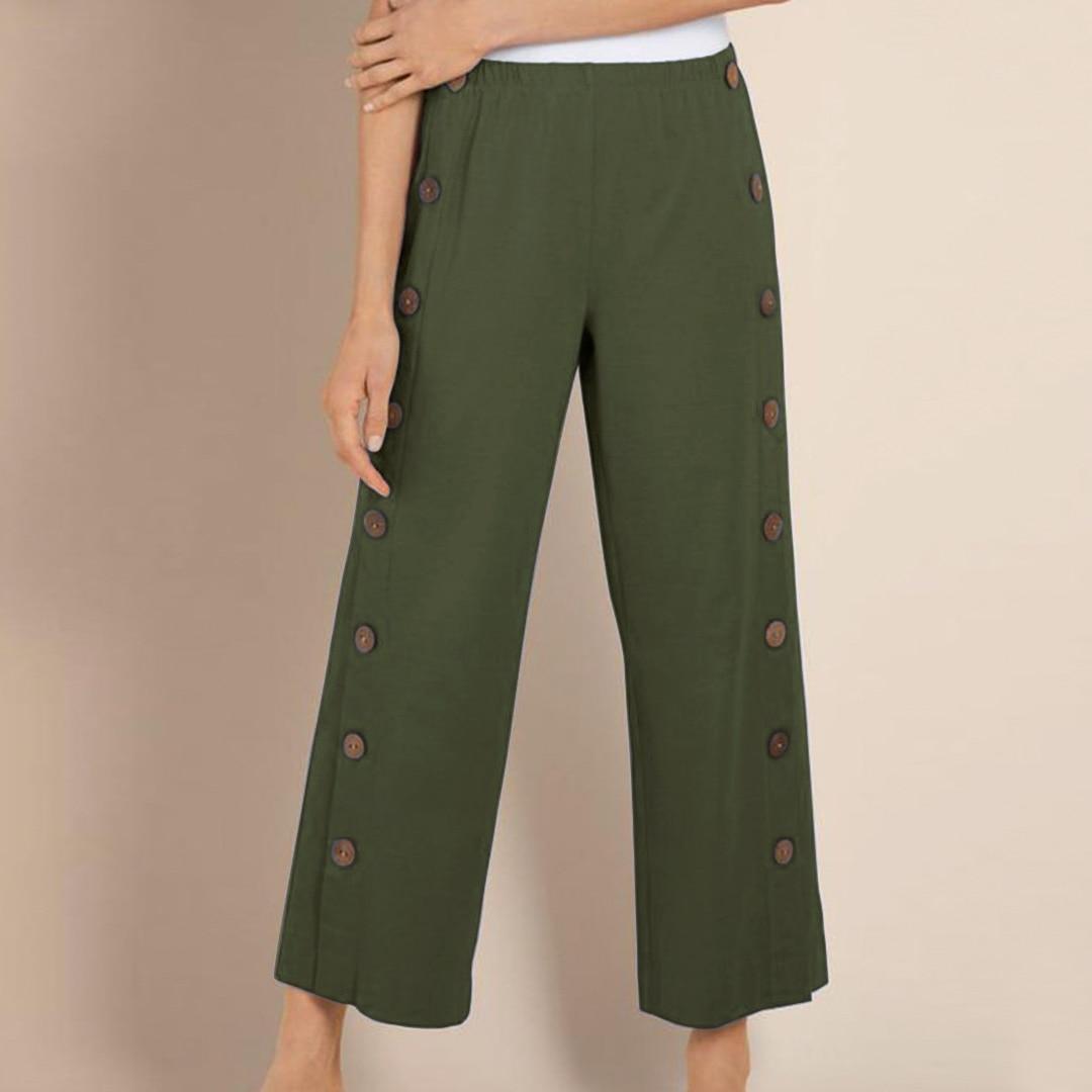 Elegant Button   Wide     Leg     Pants   Women's Casual Long Trousers Fashion Elastic Waist Woman Pantalon Streetwear Palazzo Plus Size 5XL