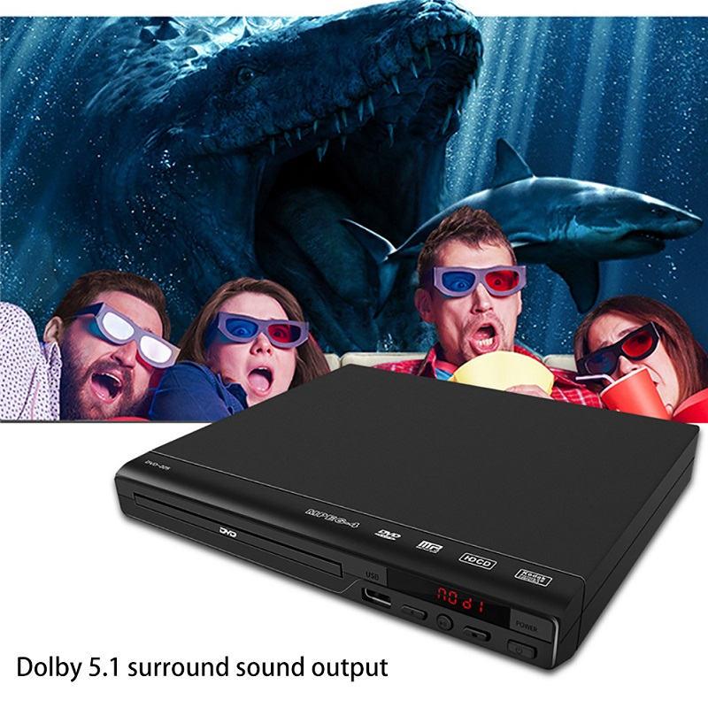 HD 1080P With AV Cable Media DVD Player For TV Music 5.1 Surround Sound Entertainment USB Compatible All Region Free Home Movie